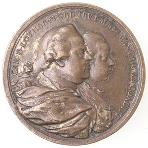 obverse: Medaglie. Germania. Arciduca. Massimiliano coadiutore del Gran Maestro dell Ordine Teutonico. Medaglia 1770. Ae.