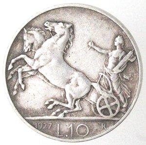reverse: Vittorio Emanuele III. 1900-1943. 10 lire 1927 Biga due rosette. Ag.