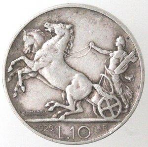 reverse: Vittorio Emanuele III. 1900-1943. 10 lire 1929 Biga due rosette. Ag.