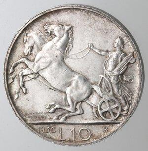 reverse: Vittorio Emanuele III. 1900-1943. 10 lire 1930 Biga. Ag.