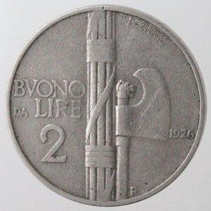 reverse: Vittorio Emanuele III. 1900-1946. Buono da 2 lire 1926 Ni.