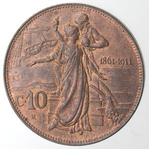 reverse: Vittorio Emanuele III. 1900-1943.10 Centesimi 1911 Cinquantenario. Ae.