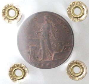 reverse: Vittorio Emanuele III.1900-1943.5 Centesimi 1908 Italia su prora. Ae.