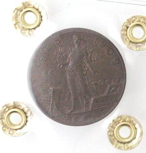 reverse: Vittorio Emanuele III.1900-1943.5 Centesimi 1909 Italia su prora. Ae.