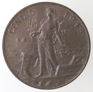 reverse: Vittorio Emanuele III.1900-1943.5 Centesimi 1915 Italia su prora. Ae.