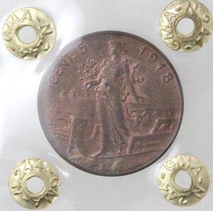 reverse: Vittorio Emanuele III.1900-1943.5 Centesimi 1918 Italia su prora. Ae.