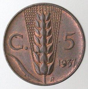 reverse: Vittorio Emanuele III. 1900-1943. 5 centesimi 1937 Spiga. Ae.