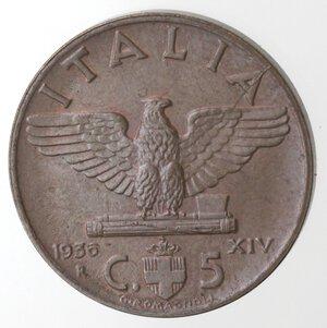 reverse: Vittorio Emanuele III. 1900-1943. 5 centesimi 1936 Anno XIV Impero. Ae.