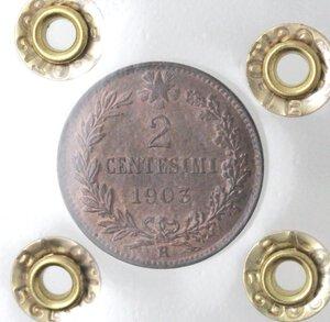 reverse: Vittorio Emanuele III. 1900-1943.2 centesimi 1903 valore. Ae.