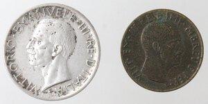 obverse: Vittorio Emanuele III. 1900-1943.Lotto di 2 monete. 5 Lire 1930 e 0,05 lek 1940. Ag-Ae.