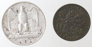 reverse: Vittorio Emanuele III. 1900-1943.Lotto di 2 monete. 5 Lire 1930 e 0,05 lek 1940. Ag-Ae.