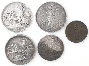 reverse: Vittorio Emanuele III. 1900-1943.Lotto di 5 monete. 2 Lire 1911-1915 e 1916, Lira 1912 e 5 Centesimi 1919 (NC). Ag-Ae.