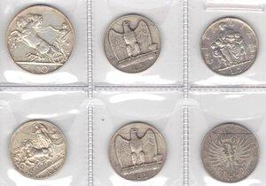 reverse: Vittorio Emanuele III. 1900-1943.Lotto di 6 monete. 10 Lire 1927, 5 Lire 1928 (2 pz.), 5 Lire 1936, Lira 1915 e Lira 1902. Ag.