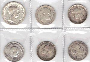 obverse: Vittorio Emanuele III. 1900-1943.Lotto di 6 monete. 5 Lire 1928 (2 pz.), 2 Lire 1914, Lira 1901, Lira 1905 e Lira 1909. Ag.