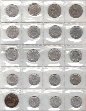 reverse: Vittorio Emanuele III. 1900-1943.Lotto di 20 monete. Nominali e date ripetute. Ni-Ac-Ae.