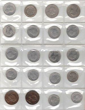 obverse: Vittorio Emanuele III. 1900-1943.Lotto di 20 monete. Nominali e date ripetute. Ni-Ac-Ae.