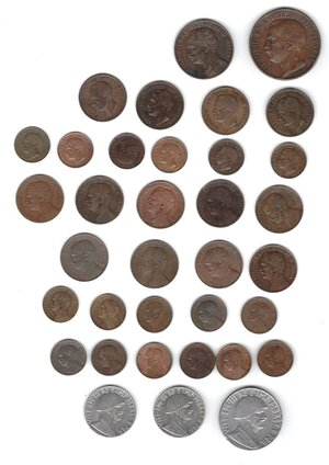 obverse: Vittorio Emanuele III. 1900-1943.Lotto di 35 monete. Nominali e date ripetute. Ac-Ae.