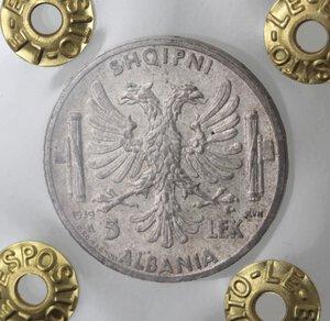reverse: Vittorio Emanuele III. 1900-1943.Albania. 5 Lek 1939. Ag.