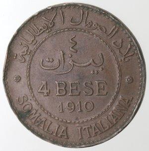 reverse: Somalia Italiana.Vittorio Emanuele III. 1900-1943.4 bese 1910.Ae.