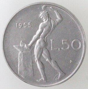 reverse: Repubblica Italiana. 50 Lire 1955 Vulcano. Ac.