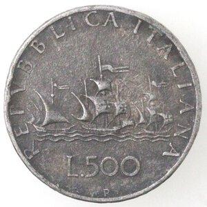 reverse: Repubblica Italiana. 500 Lire 1958 Caravelle. MB.