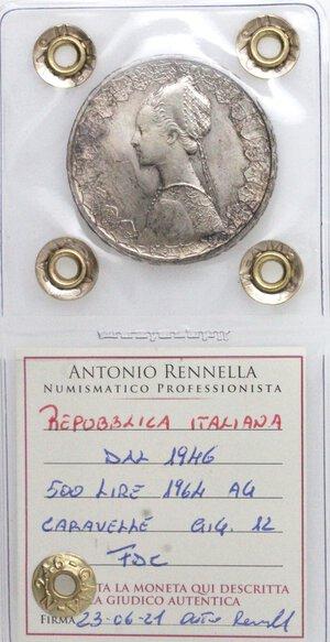 obverse: Repubblica Italiana. 500 Lire 1964 Caravelle. Ag.