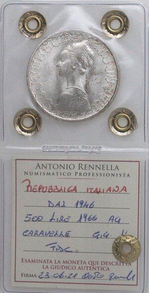 obverse: Repubblica Italiana. 500 Lire 1966 Caravelle. Ag.