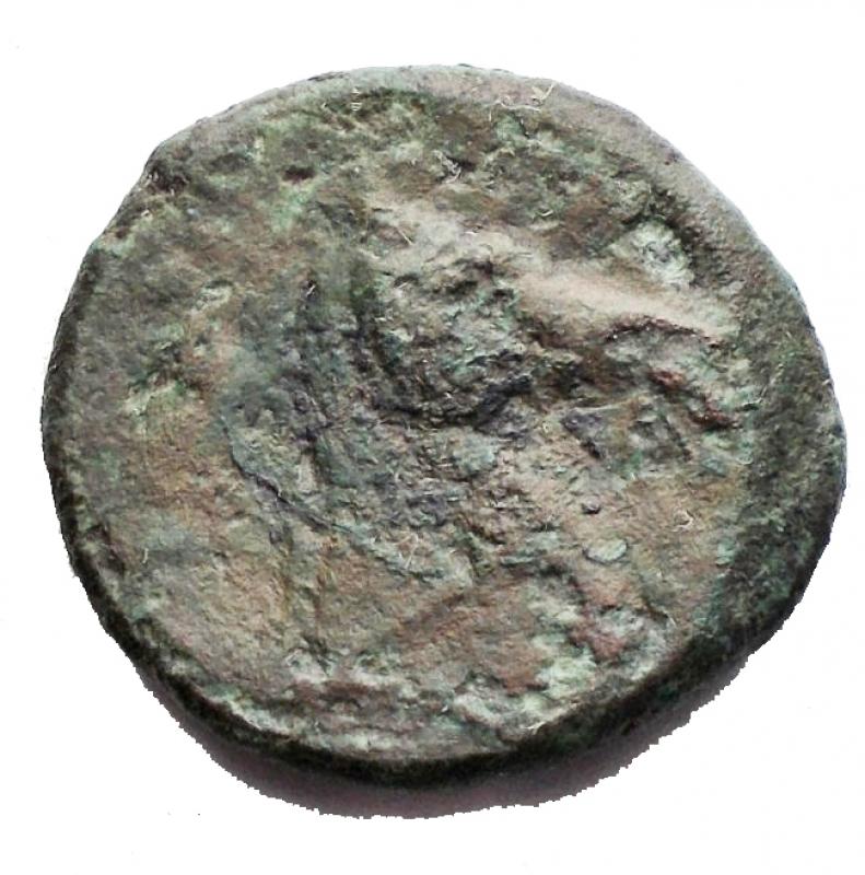 reverse: Repubblica Romana - Serie anonima. Litra, dopo il 276 a.C. D/ Testa elmata di Minerva a sinistra. R/ Testa di cavallo a destra. AE. g 3,62. BB/qBB Patina verde.