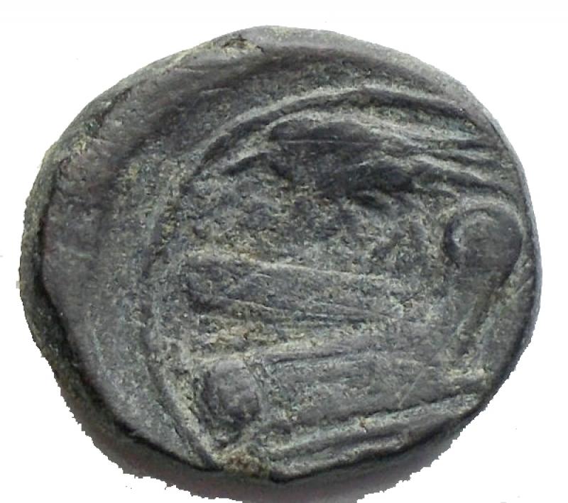 reverse: Repubblica Romana - Semuncia. ca 214-212. D/ Testa di Mercurio a destra. R/ Prua a destra; sopra ROMA - spiga di grano. Cr. 42/5 AE. g 4,28. BB