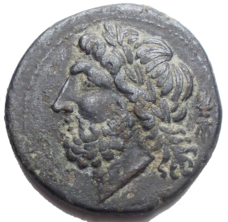 obverse: Mondo Greco - Apulia Arpi (III sec. a.C.) Obolo. D/ Testa di Zeus a sinistra. R/ Cinghiale a destra, sopra punta di freccia, sotto testina ? Gr 6,4. mm 21,58. AE. BB-qSPL/BB+