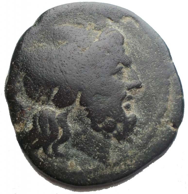 obverse: Repubblica Romana - Serie  H . Semisse. ca 211-210. D/ Testa di Saturno laureata a destra, dietro S. R/ Prua a destra; sopra S, davanti H. Sotto, ROMA. Syd. 175a. Cr. 85/3. AE. g 10,36. mm 24,67 x 25,83. NC. qBB  Roman Republic -  H  series. Semis. AE. ca 211-210 BC. D / Head of Saturn graduated on the right, behind S. R / Bow on the right; above S, in front of H. Below, ROME. Syd. 175a. Cr. 85/3. AE. 10.36 g. 24.67 x 25.83 mm. Uncommon. aVF