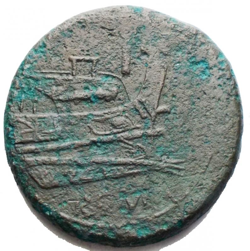 reverse: Repubblica Romana - Serie L. Asse, ca. 211-208 a.C. Luceria. D/ Testa laureata di Giano. R/ Prua a destra. Sopra, I. In esergo: ROMA. Cr. 99/22a. AE. g 24,4. mm 31,1. MB-qBB