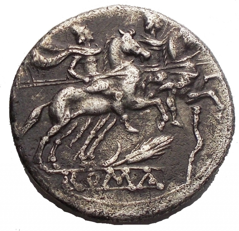 obverse: Repubblica Romana - ANONYMOUS. Circa 209 BC. AR Denarius. RRRR. Helmeted head of Roma right, X / The Dioscuri on horseback riding right, grain ear and crooked staff below horses, ROMA in exergue.RRC 77/1.E Weight 3.7gr Diameter 19mm. Extremely Rare