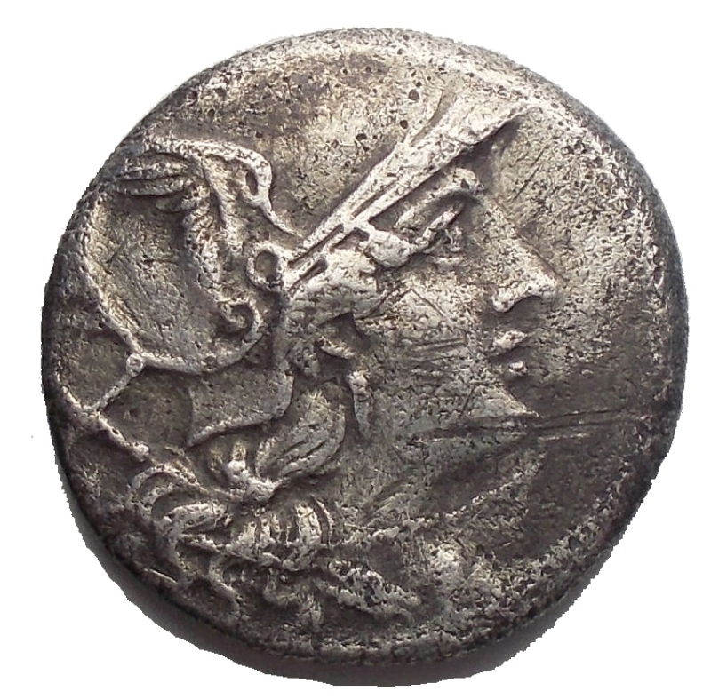 reverse: Repubblica Romana - ANONYMOUS. Circa 209 BC. AR Denarius. RRRR. Helmeted head of Roma right, X / The Dioscuri on horseback riding right, grain ear and crooked staff below horses, ROMA in exergue.RRC 77/1.E Weight 3.7gr Diameter 19mm. Extremely Rare