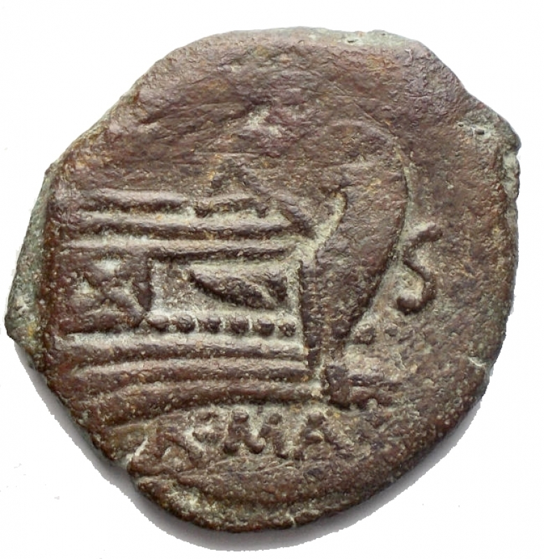 reverse: Repubblica Romana - Anonime(AT or TA series ??). Semisse. Roma 169-158 aC. (RRC), 172-151 BC (BMCRR), AE, g 7,38. mm 25,2. d/ Saturno a ds r/ Prua a ds. Sopra AT or TA ??, sotto ROMA. RRC 191/2; BMCRR Rome -; Sydenham 372a. Very rare. aVF
