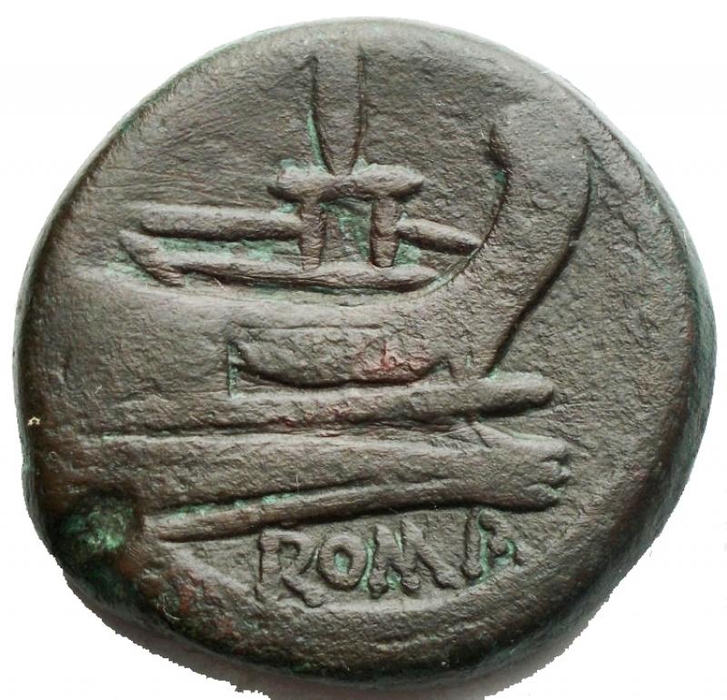 reverse: Repubblica Romana - Asse  Ae da catalogare Peso g 31,27. Diametro mm 31,3 x 30,9. BB-BB+