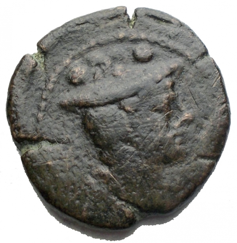 obverse: Repubblica Romana - Matienus Sextans Ae ca 179-170 aC. g 4,78. d/ Bust of Mercury r. above two pellets. r/ Prow r. above MAT ligate, before two pellets and below ROMA. Babelon Matiena 8. Sydenham 321e. Crawford 162/7a. aVF. Very rare.