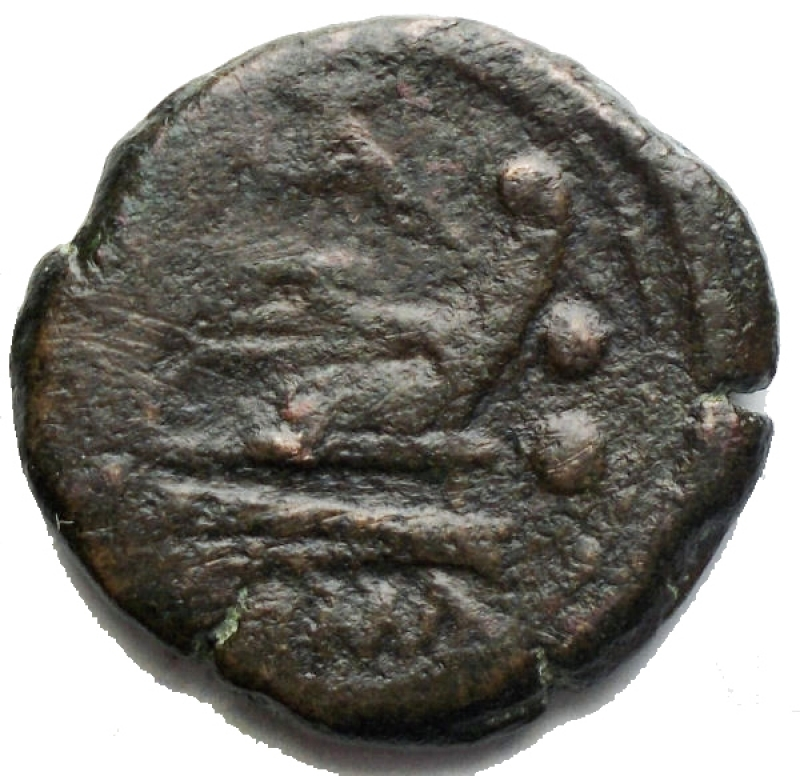 reverse: Repubblica Romana - Matienus Sextans Ae ca 179-170 aC. g 4,78. d/ Bust of Mercury r. above two pellets. r/ Prow r. above MAT ligate, before two pellets and below ROMA. Babelon Matiena 8. Sydenham 321e. Crawford 162/7a. aVF. Very rare.