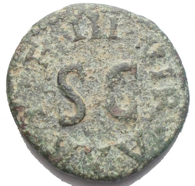 reverse: Impero Romano - Augusto. 43 a.C.-17 d.C. Quadrante. D/ LAMIA SILVS ANNIVS  due mani che si stringono dietro un caduceo. R/ III VIR AAA FF SC. Peso 2,47 gr. Diametro 16,76 x 16,1 mm. RIC.420. BB. Patina verde.