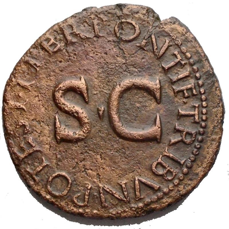 reverse: Impero Romano - Druso, figlio di Tiberio (deceduto nel 23 d.C.). Asse. D/ DRVSVS CAESAR TI AVG F DIVI AVG N. Testa nuda a sinistra. R/ PONTIF TRIBVN POTEST ITER intorno a grande SC. RIC (Tib.) 45. AE. g 10,24. mm 28,4. BB+