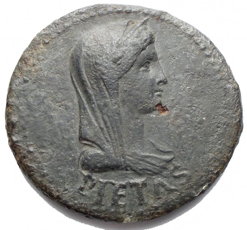 obverse: Impero Romano - Livia, moglie di Augusto, deceduta nel 29 d.C. Dupondio. AE. D/ PIETAS. Busto diademato e velato a destra. R/ DRVSVS CAESAR TI  AVGVSTI F TR POT ITER intorno a grande SC. RIC (Tib) 43. Peso g 12,6. Diametro mm 31,5. BB+/BB-qSPL. R.