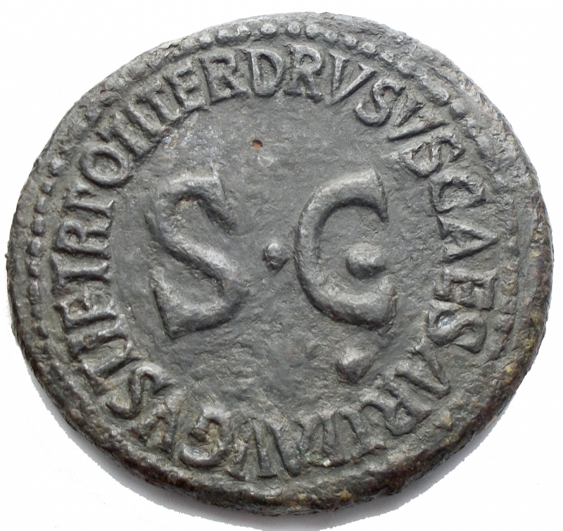 reverse: Impero Romano - Livia, moglie di Augusto, deceduta nel 29 d.C. Dupondio. AE. D/ PIETAS. Busto diademato e velato a destra. R/ DRVSVS CAESAR TI  AVGVSTI F TR POT ITER intorno a grande SC. RIC (Tib) 43. Peso g 12,6. Diametro mm 31,5. BB+/BB-qSPL. R.