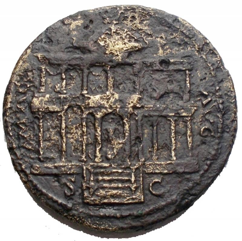 obverse: Impero Romano - Nerone (54-68) Lugdunum ca. 65 d.C. AE  g 13,8 mm 29,5. d/ NERO CLAVD CAESAR AVG GER P M TR P IMP P P Testa a sn. r/ MAC - AVG ai lati. Veduta frontale del Macellum Magnum, sotto S - C. qBB. R