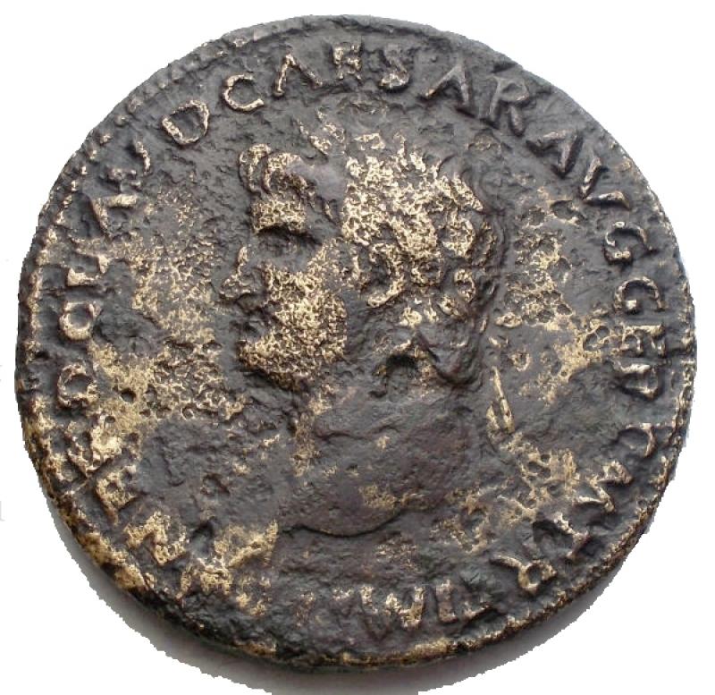 reverse: Impero Romano - Nerone (54-68) Lugdunum ca. 65 d.C. AE  g 13,8 mm 29,5. d/ NERO CLAVD CAESAR AVG GER P M TR P IMP P P Testa a sn. r/ MAC - AVG ai lati. Veduta frontale del Macellum Magnum, sotto S - C. qBB. R