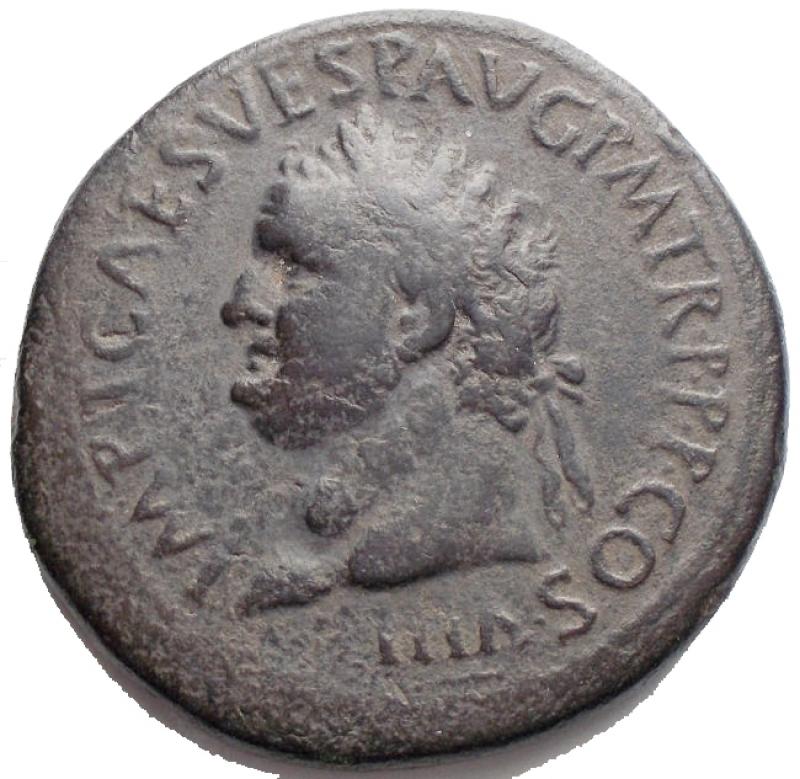 obverse: Titus (79-81). AE Sestertius, 89 AD. D/ IMP T CAES VESP AVG PM TR P PP COS VIII. Laureate head left. R/ PAX AVGVST SC. Pax standing left, holding branch and cornucopiae. RIC 94; C. 140. AE. g 24.9 mm 33,95.Dark olive green patina. VF.