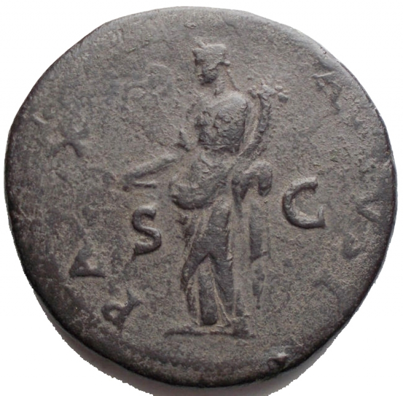 reverse: Titus (79-81). AE Sestertius, 89 AD. D/ IMP T CAES VESP AVG PM TR P PP COS VIII. Laureate head left. R/ PAX AVGVST SC. Pax standing left, holding branch and cornucopiae. RIC 94; C. 140. AE. g 24.9 mm 33,95.Dark olive green patina. VF.