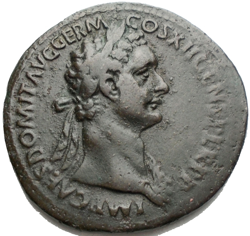 obverse: Impero Romano - Domitianus (81-96) - AE As (Rome AD 86. 9,99 g) - IMP CAES DOMIT AVG GERM COS XII CENS PER P P, laureate head right with aegis on neck / FIDEI PVBLICAE / S – C, Fides standing right, holding corn-ears with poppy in right hand and dish of fruits in left (RIC 332, BMCRE 385) – VF. Green patina
