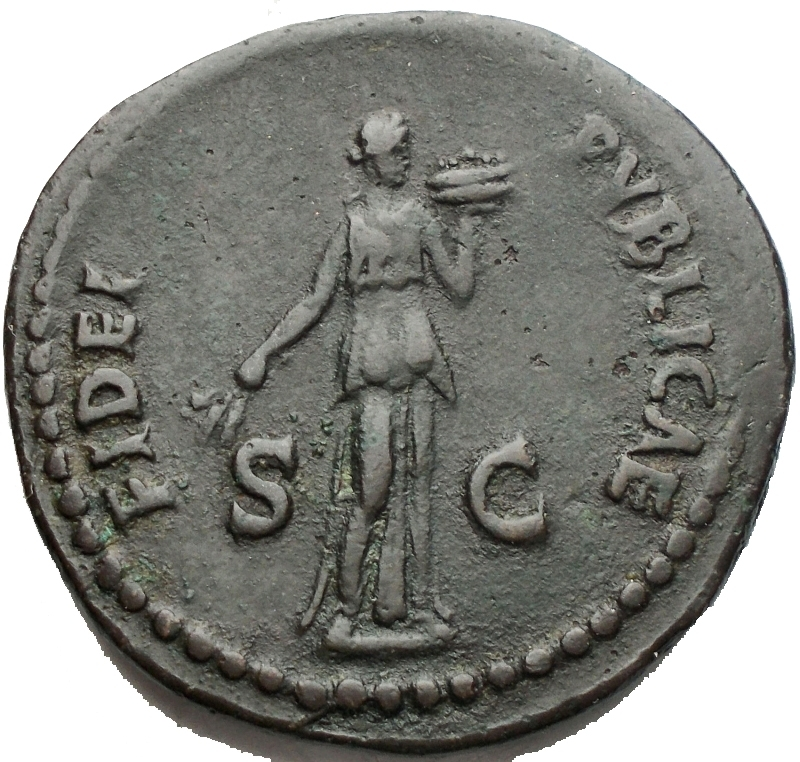reverse: Impero Romano - Domitianus (81-96) - AE As (Rome AD 86. 9,99 g) - IMP CAES DOMIT AVG GERM COS XII CENS PER P P, laureate head right with aegis on neck / FIDEI PVBLICAE / S – C, Fides standing right, holding corn-ears with poppy in right hand and dish of fruits in left (RIC 332, BMCRE 385) – VF. Green patina