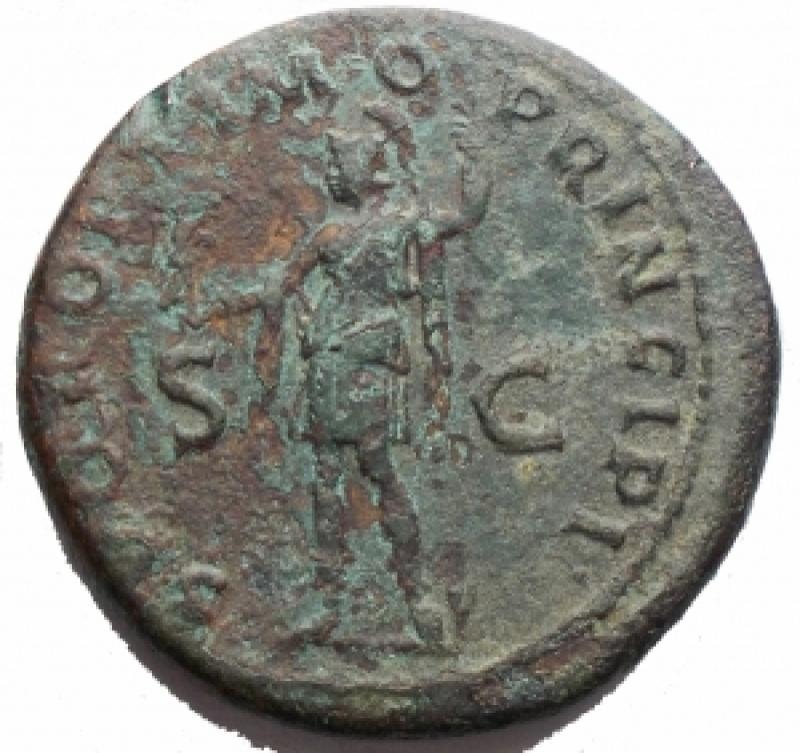 reverse: Impero Romano - Domiziano. 72-96 d.C. Asse Ae. d/ Testa di Domiziano verso destra r/ MONETA AVGVSTI Moneta stante verso sinistra con cornucopia e bilancia. Peso 9,66 gr. Diametro 26,5 mm. Ric.806. BB+/BB++. Patina verde intenso