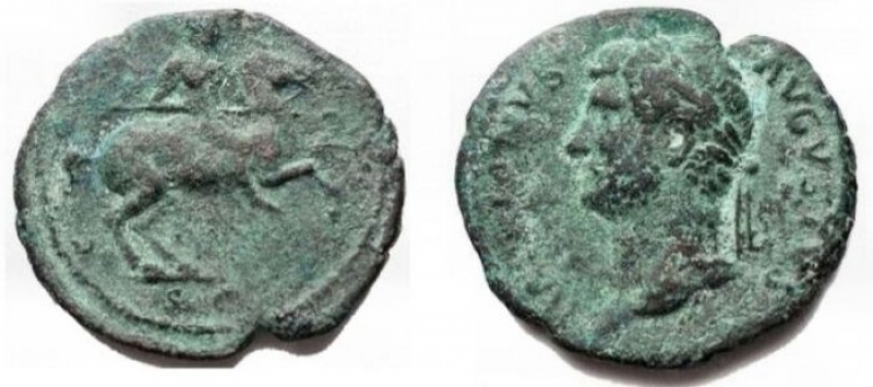 obverse: Impero Romano - Hadrian 117-138. As Ae. 132-135. D / Graduated head left r / Hadrian on horseback towards right. RIC II 717; BMCRE 1454; Cohen 498. aVF. Intact green patina. Rare